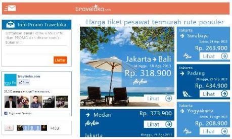 Tampilan situs traveloka.com