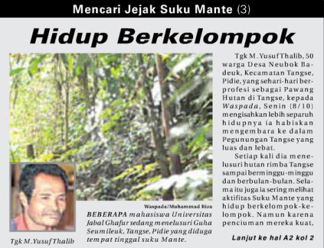 Mencari Jejak Suku Mante (Waspada, 13 Oktober 2012)